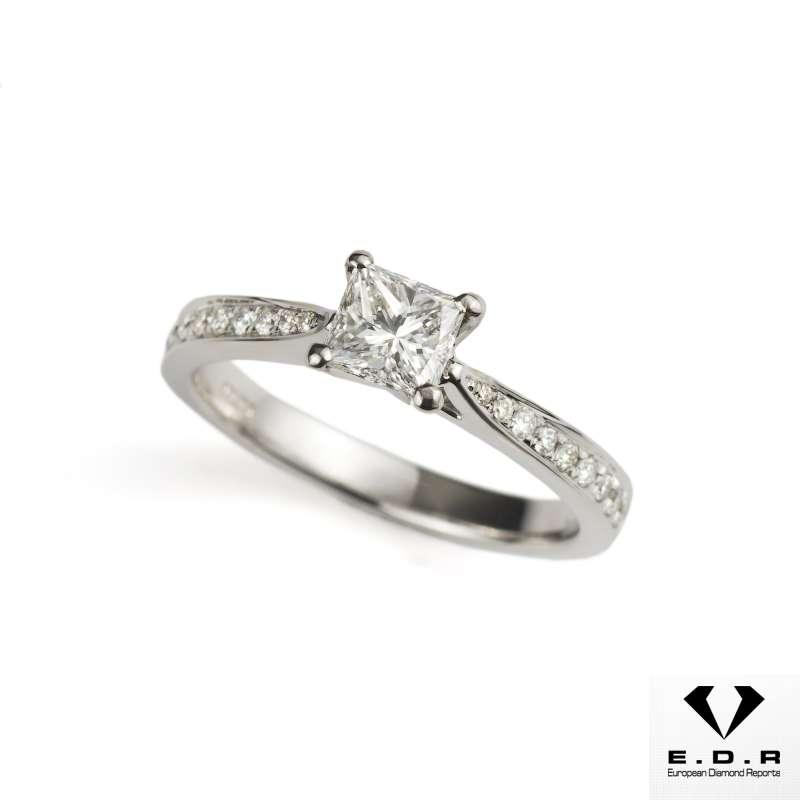18k White Gold Princess Cut Diamond Ring 0.53ct E/VS1